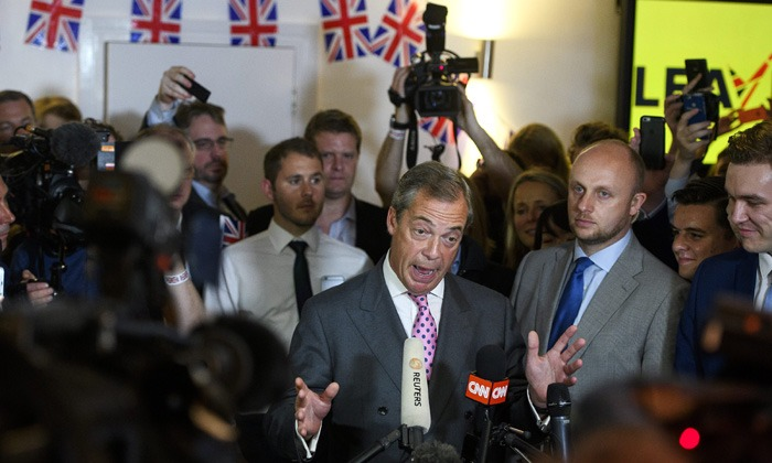 The leader of UKIP, Nigel Farage, at a Brexit-party in Westminster.