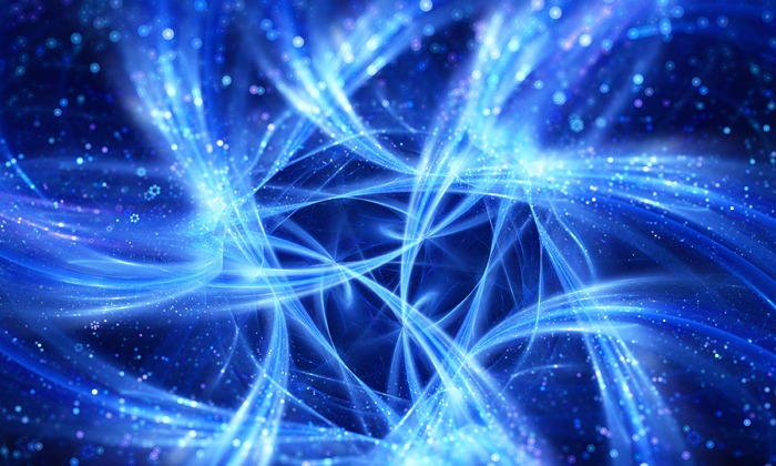 Blue glowing connections curves in space, big data flow , computer generated abstract background